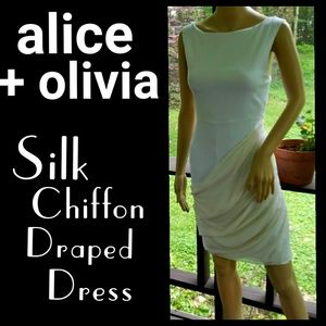 🆕alice + olivia▪Ivory Sleeveless Silk Drape Dress